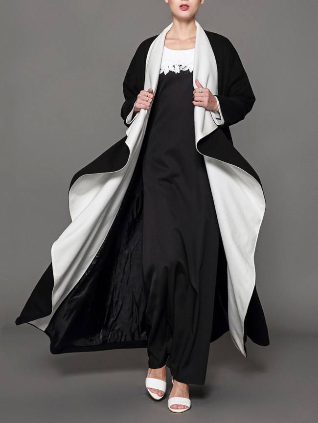 SheIn Waterfall Collar Abaya