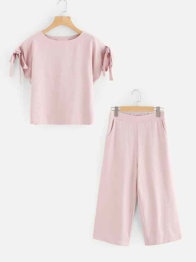 SheIn Self Tie Sleeve Top And Pants