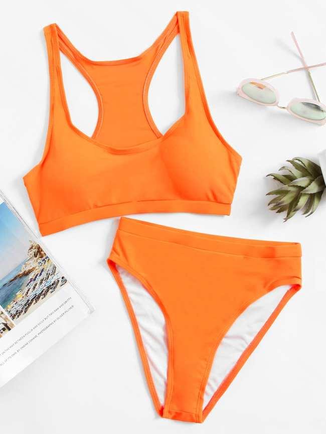 SheIn Racerback High Waist Bikini Set