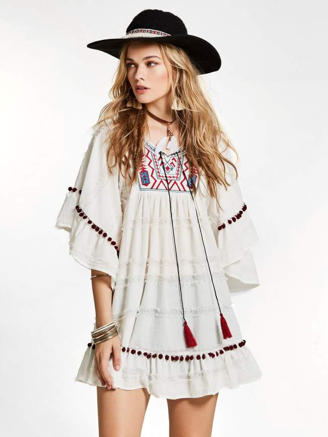 SheIn Embroidered Fringe Tie Pompom Detail Frill Dress