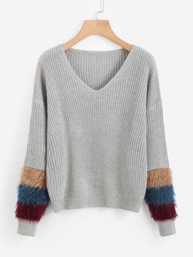 SheIn V Neckline Fur Cuff Sweater