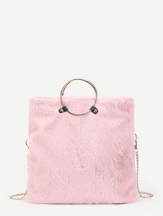 SheIn Faux Fur Ring Tote Bag With Chain