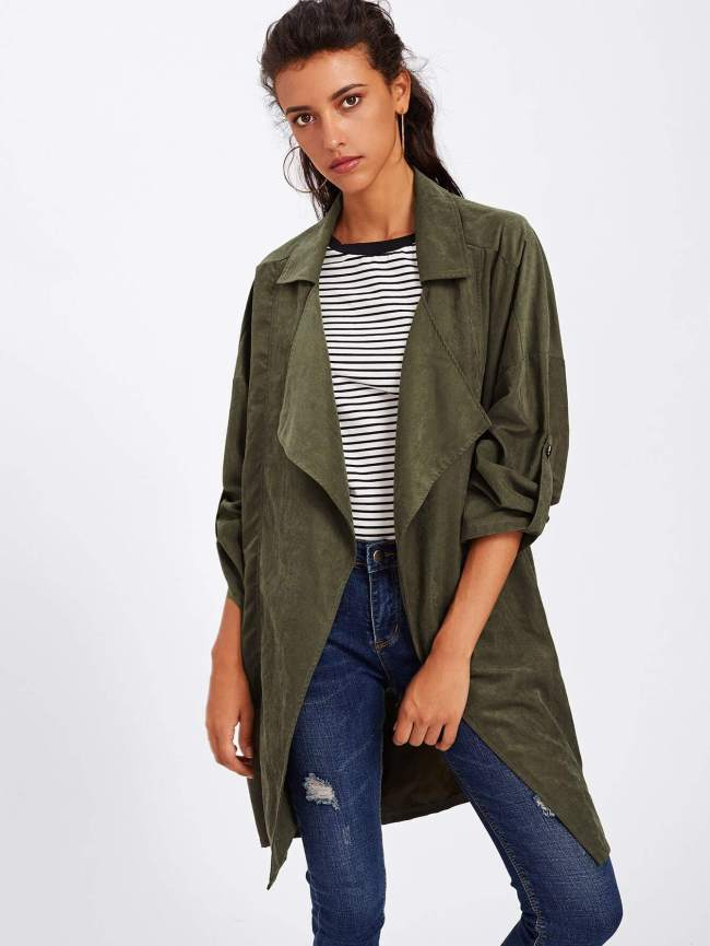 SheIn Revere Collar Rolled Sleeve Coat