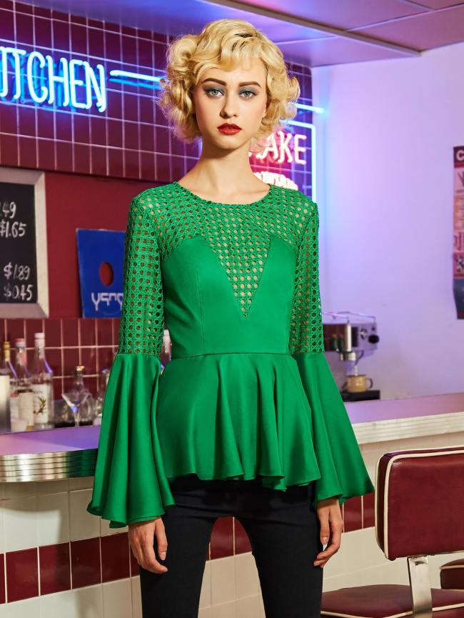 SheIn Fluted Sleeve Lace Panel Frill Hem Blouse