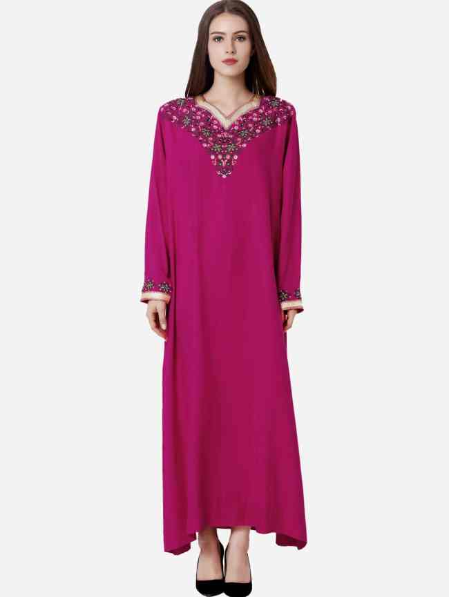 SheIn Flower Embroidered Hijab Evening Dress