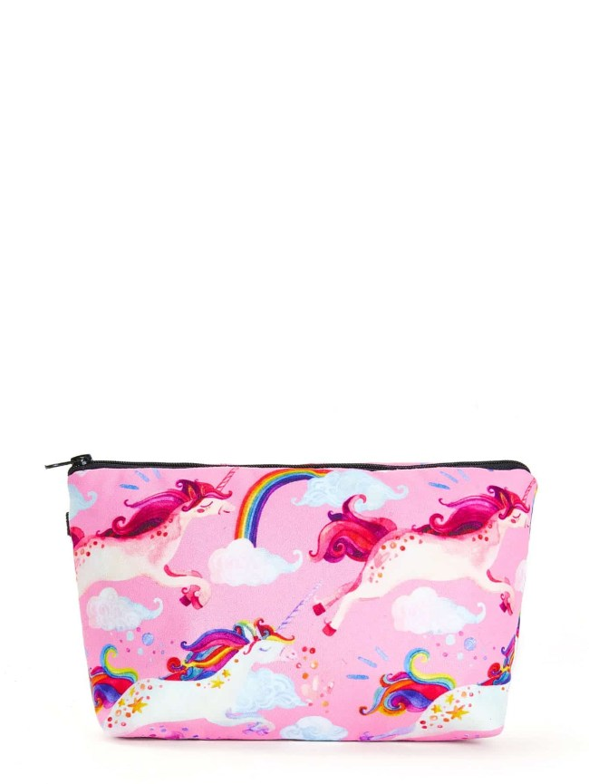 SheIn Unicorn & Rainbow Print Zipper Pouch