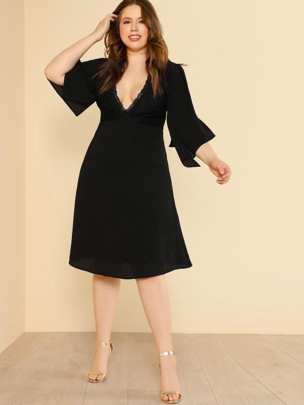 Модное платье с кружевной вставкой | SHEIN