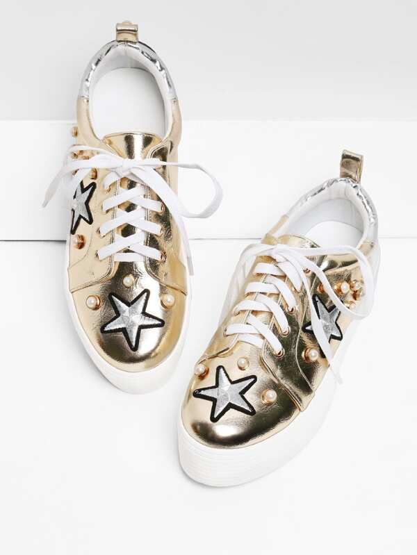 39 awesome sneakers that you should have ,Embroidery Star PU Sneakers With Faux Pearl, summer style ,shorts #summerwear #summerstyle #summeroutfit