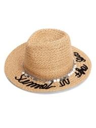 Chapeau Fedora en paille avec chaîne