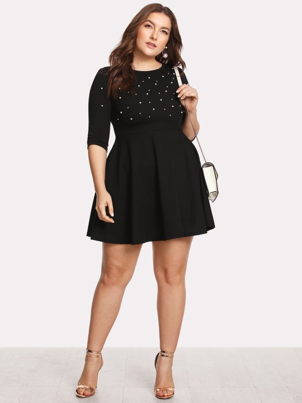 Модное Платье С Бусинами Размер Плюс | SHEIN