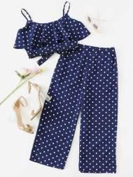 Camisole courte imprimée des pois & Pantalons