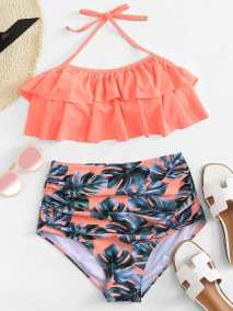Palm Print Ruffle Bikini Set