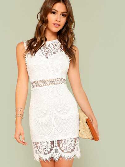 sleeveless lace white wedding short dress embroidered
