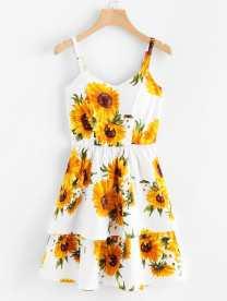 Sunflower Print Ruffle Hem Slip Dress