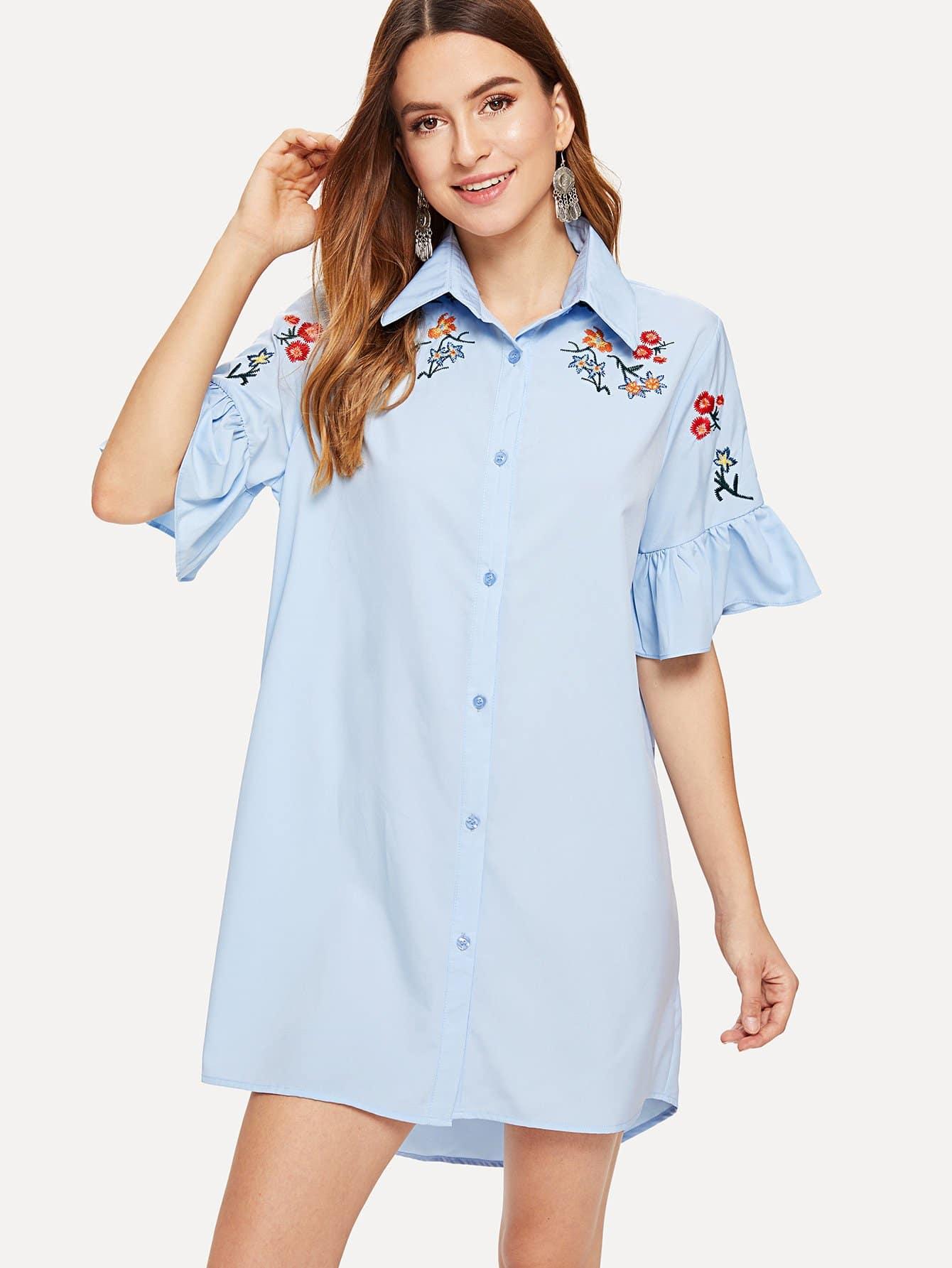 荷葉袖刺繡前短後長襯衫洋裝 | SHEIN臺灣