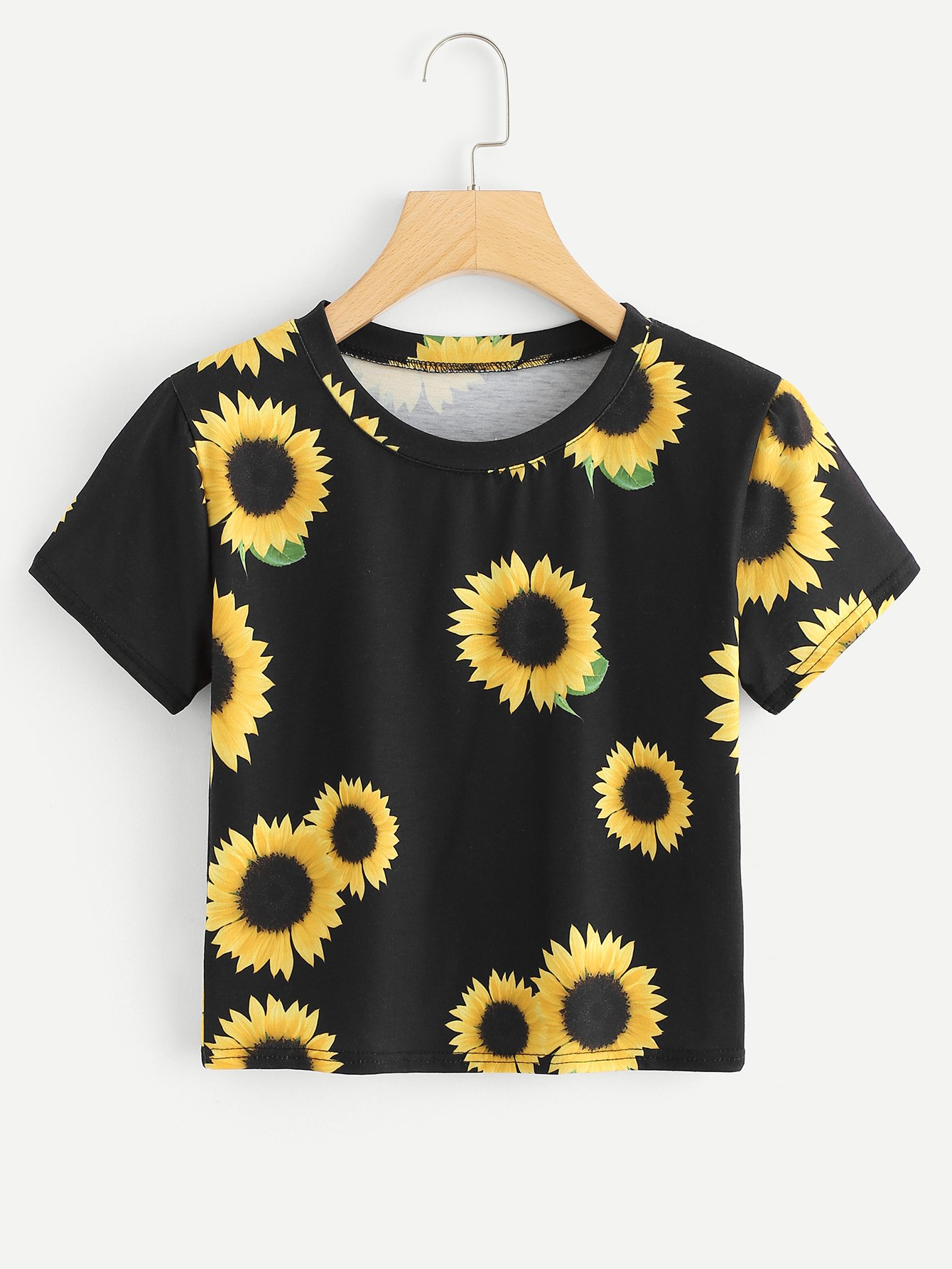 Sunflower Print Crop Tee