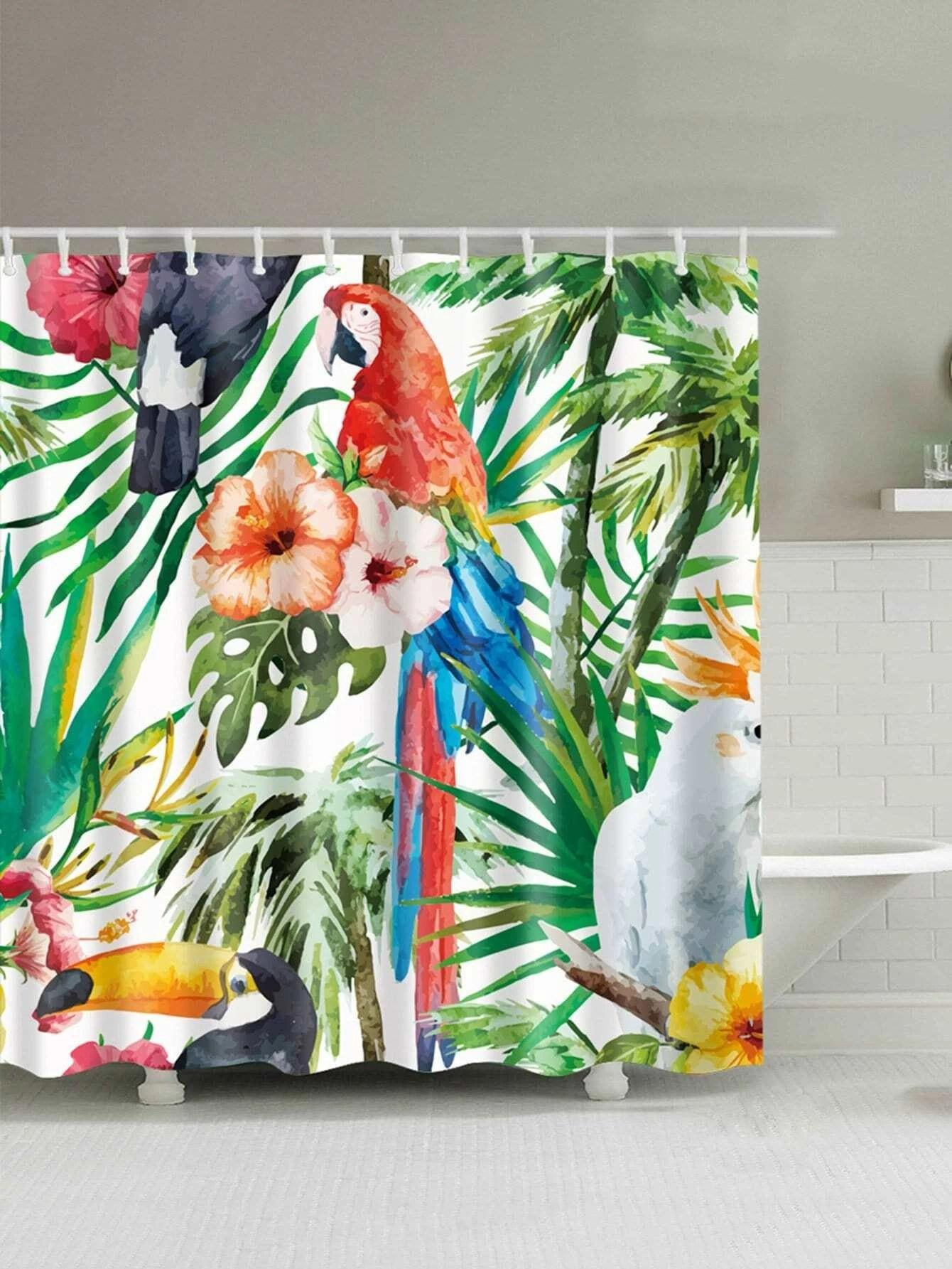 Jungle Bird Shower Curtain With 12pcs Hook