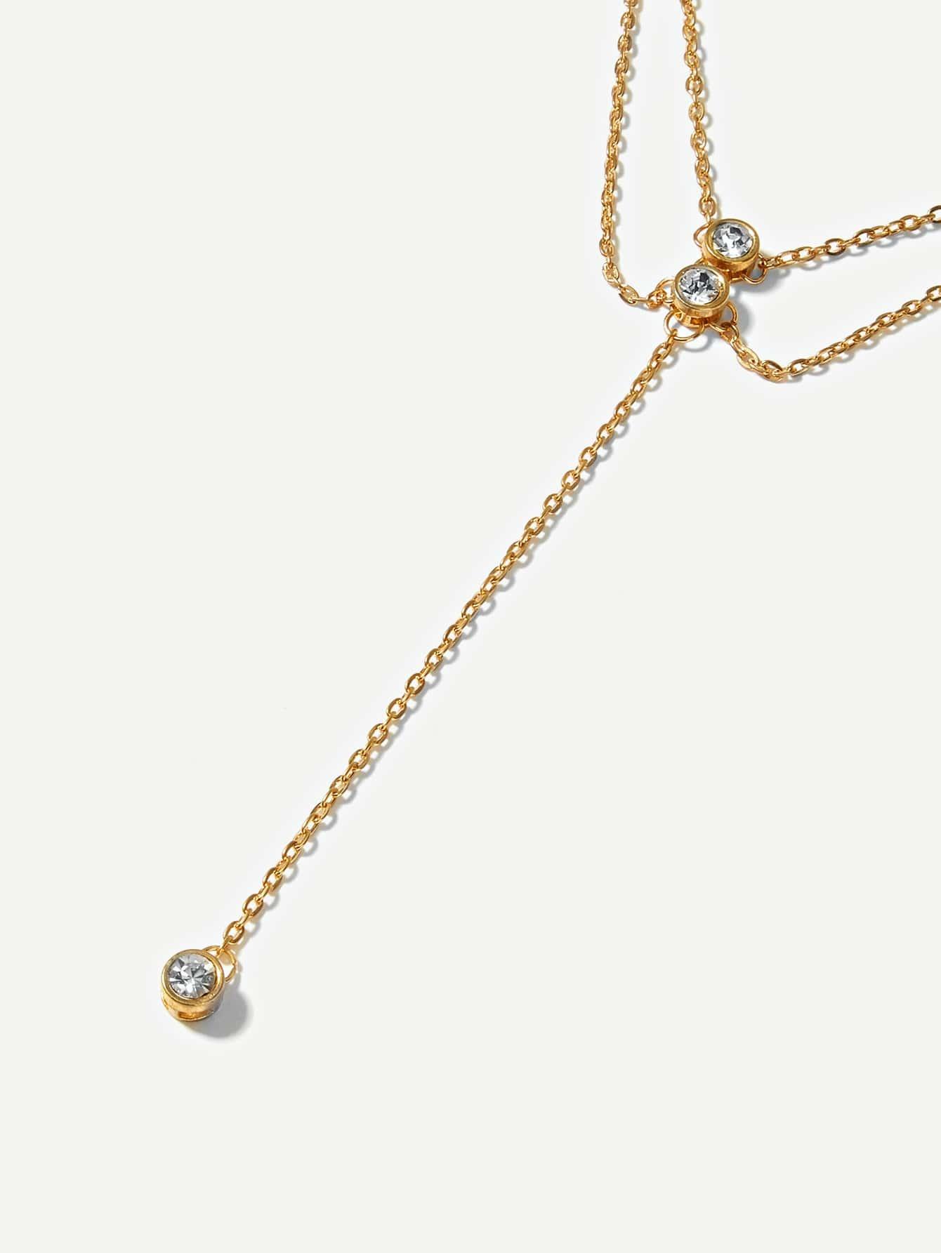 Rhinestone Panel Layered Chain Necklace