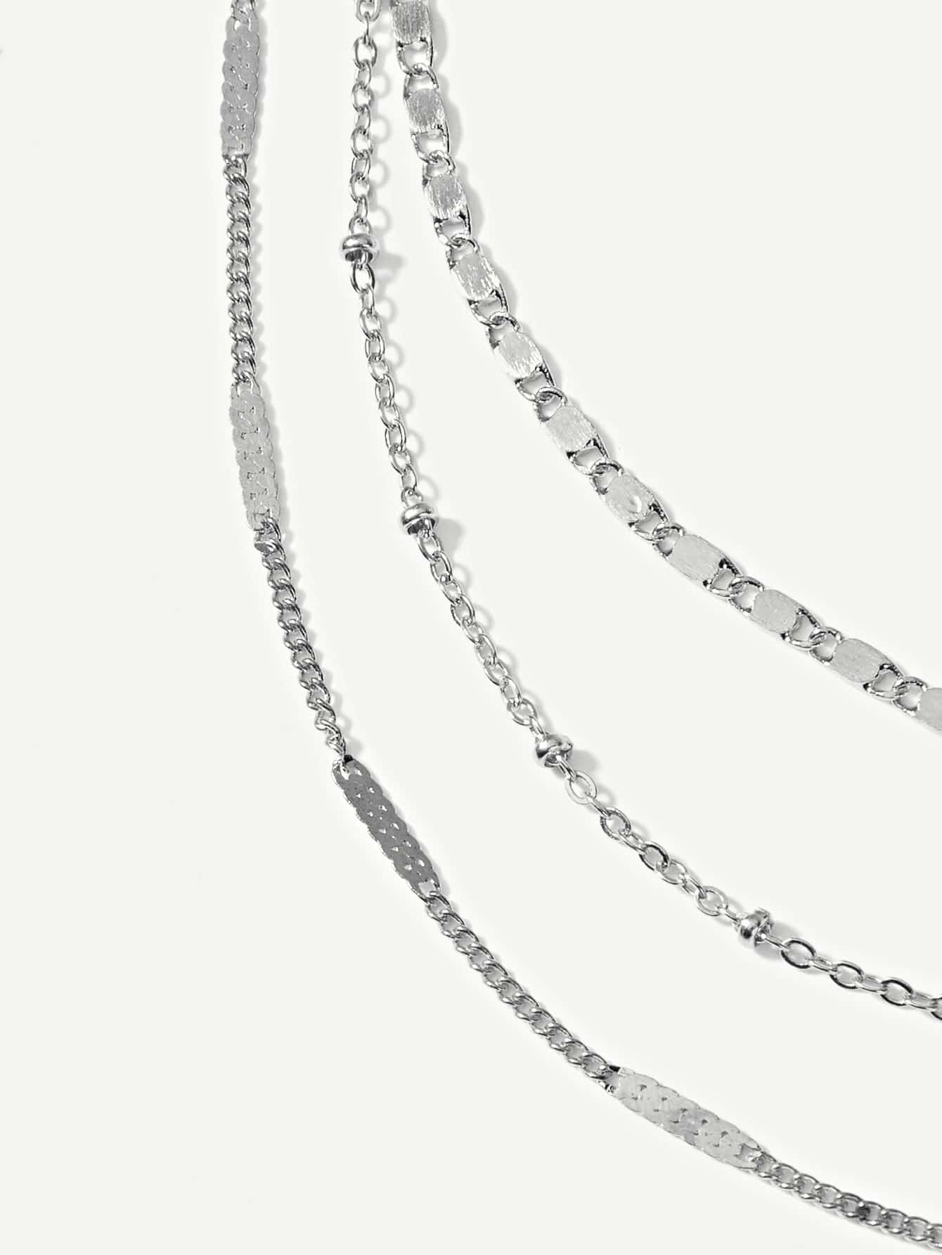 Metal Sheet Decor Layered Chain Necklace