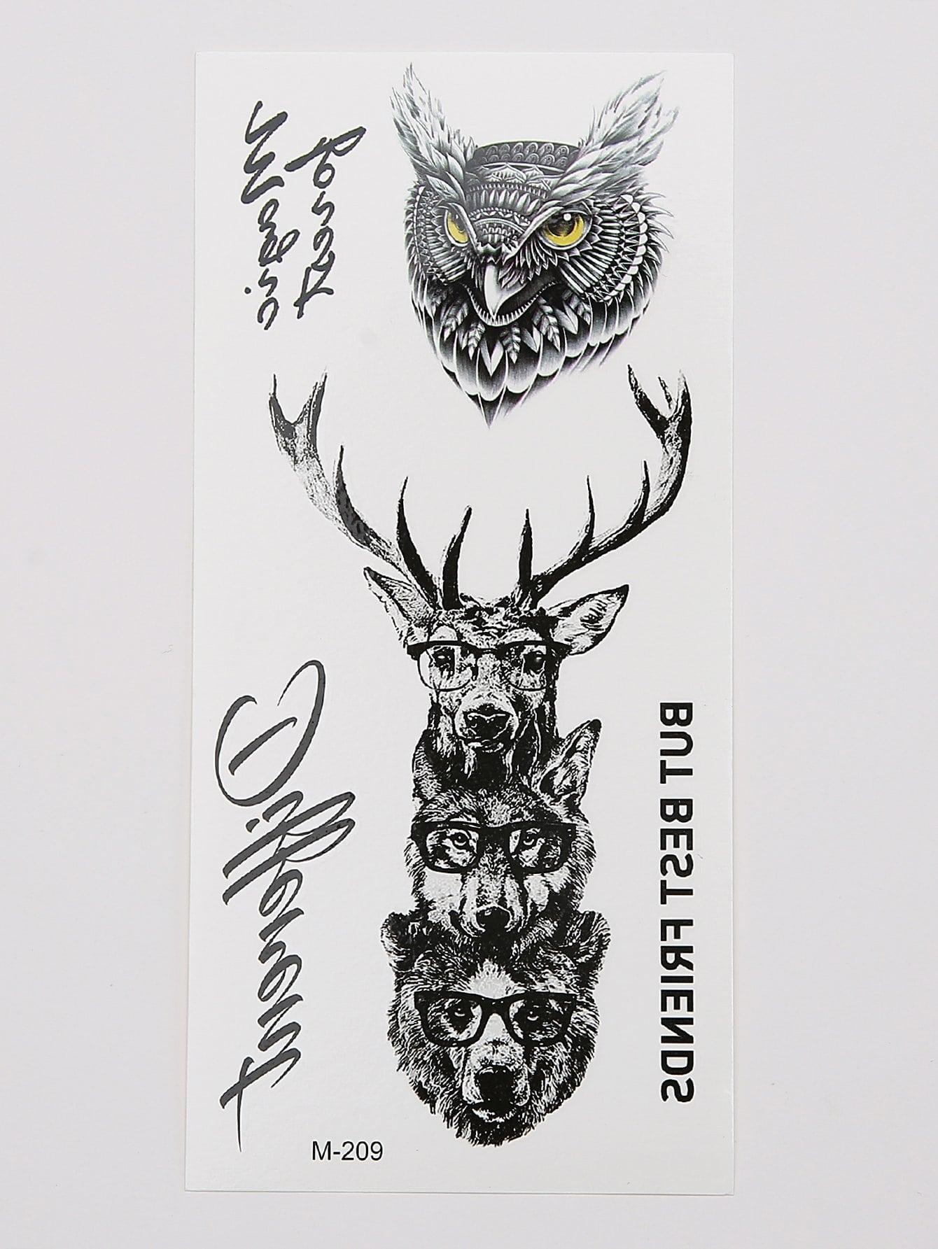 Owl Amp Deer Pattern Tattoo Sticker