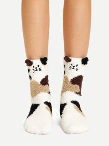 貓圖案模糊襪子   SHEIN