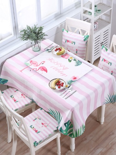 Striped & Flamingo Pattern Tablecloth