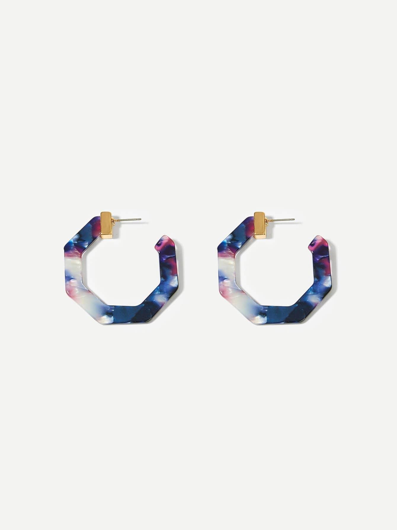Marble Pattern Geometric Hoop Earrings 1pair