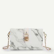 Marbled Print Clutch Bag With Chain