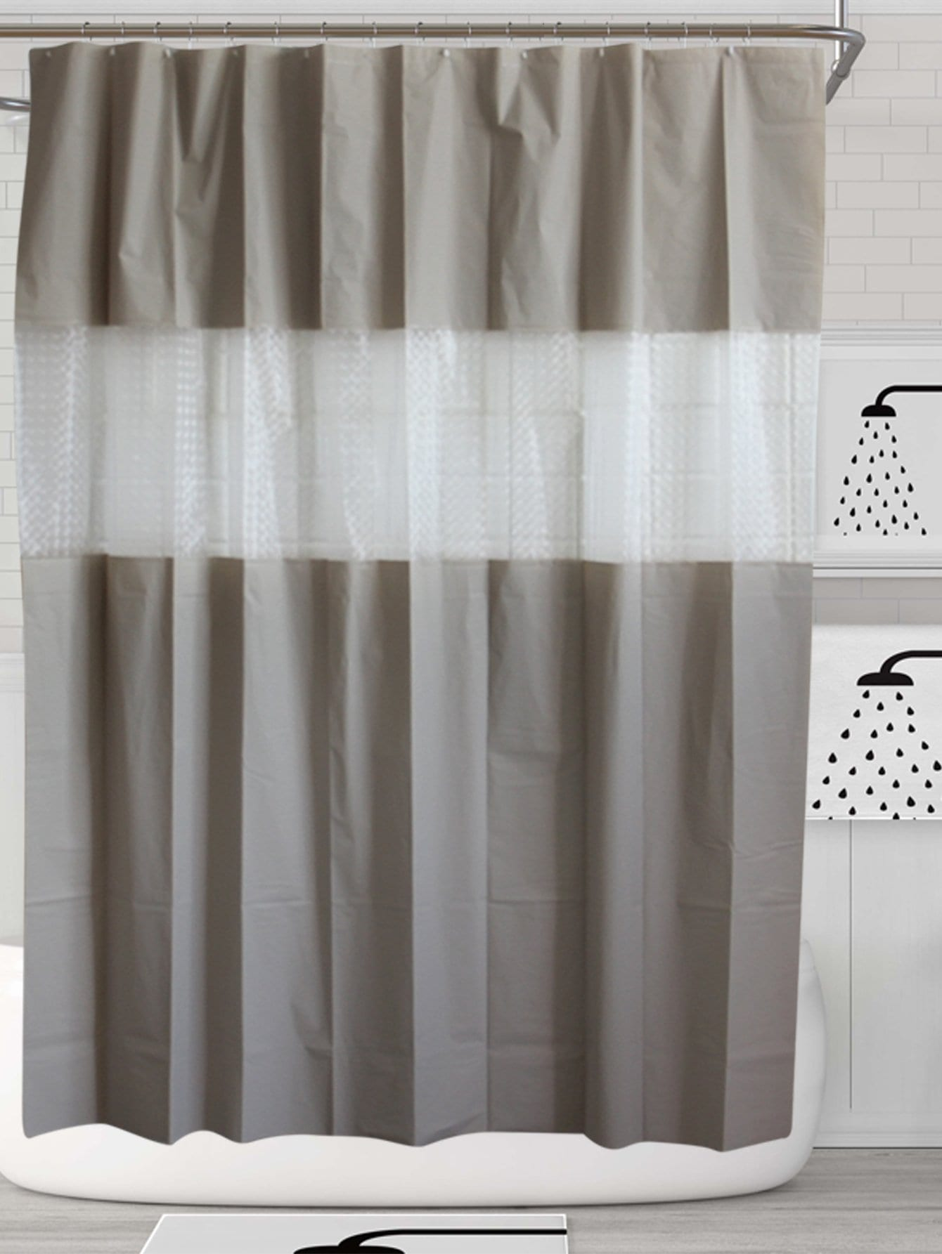 Contrast Striped Shower Curtain