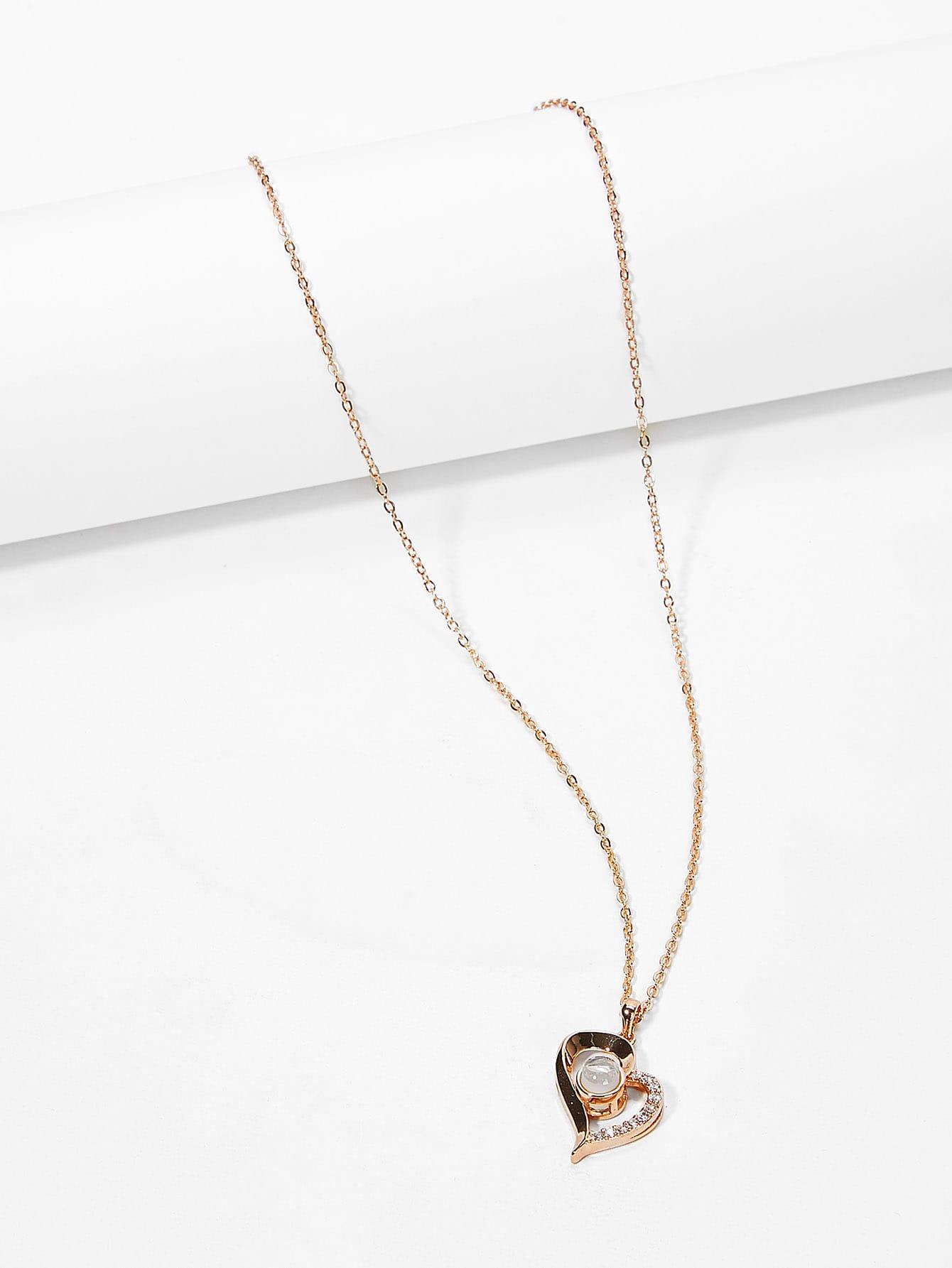 Light Projection Heart Pendant Necklace