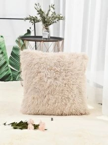solid fuzzy cushion cover 1pc