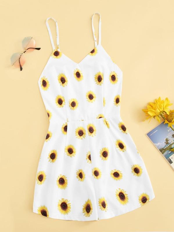 Plus Sunflower Print Cami Romper