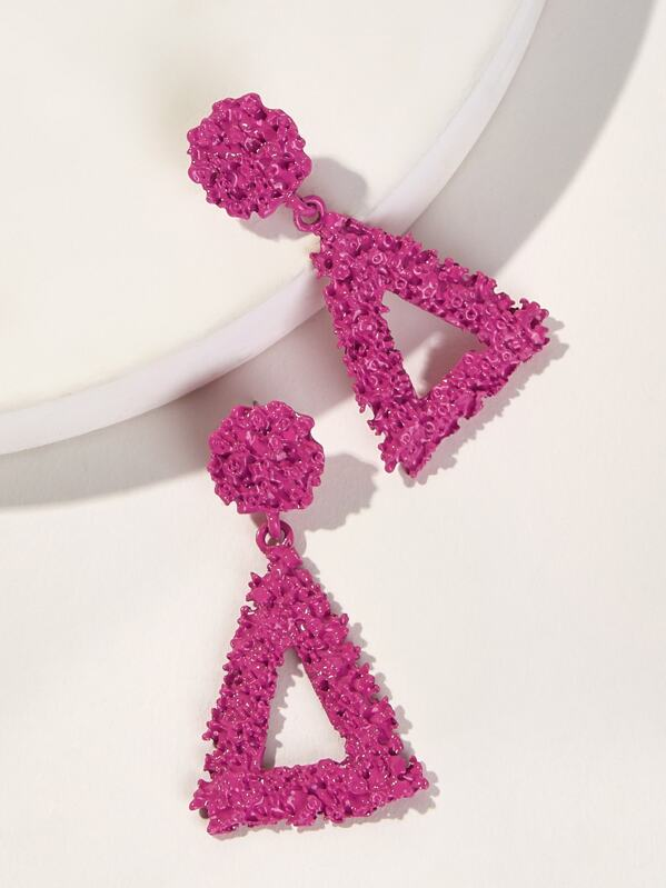 Textured Triangle Drop Earrings 1pair
