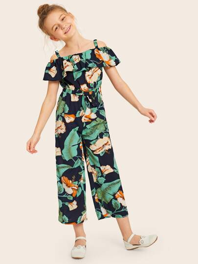 Girls Cold Shoulder Ruffle Trim Elastic Knot Waist Jumpsuit Tie Navy Green Vacation
