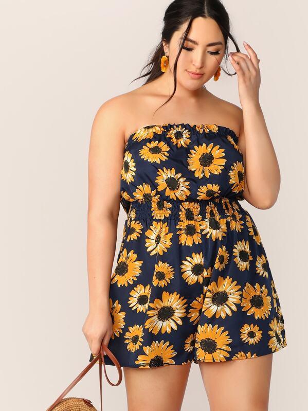 Plus Sunflower Print Shirred Waist Tube Romper