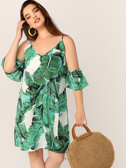 Plus Size Curvy Tropical Print Cold Shoulder Tunic Dress Palm Print Women's