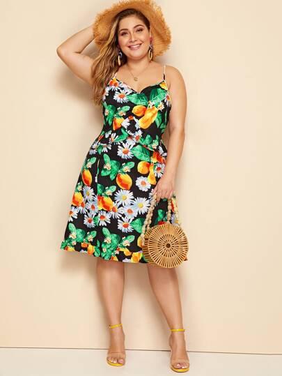 Plus Size Curvy Tropical Fruit & Floral Print Cami Dress Women's