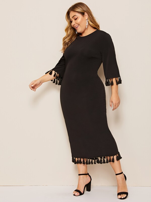Plus Tassel Trim Solid Dress