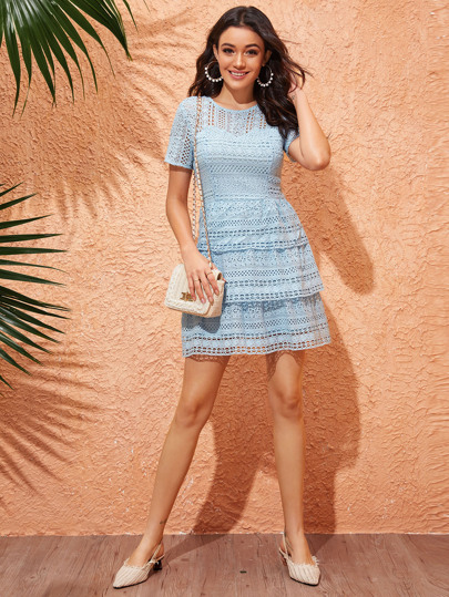 Tiered Layer Guipure Lace Dress
