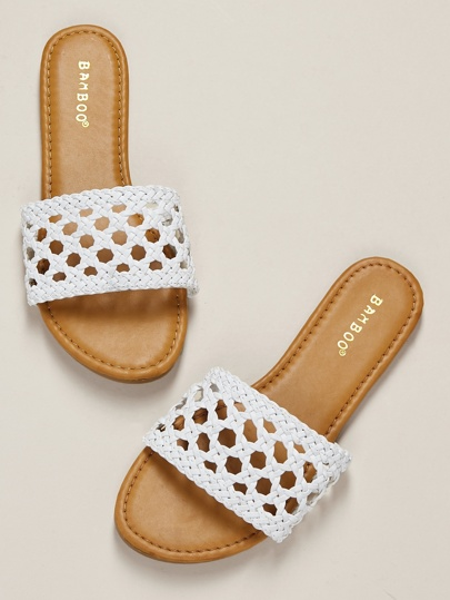 Interlock Braided Lace Look Band Flat Slide Sandals Women's Shoes Summer