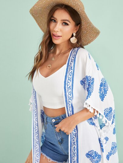 blue white print swimsuit cover up with tassels women's