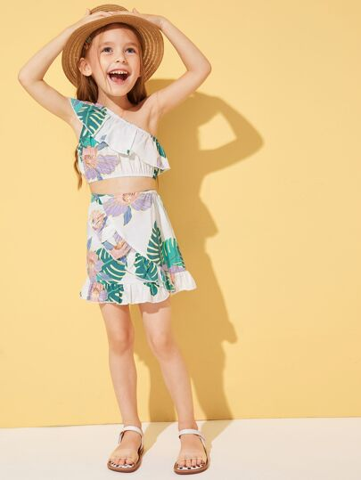 Toddler Little Girls Tropical Asymmetrical Neck Top & Ruffle Trim Skirt Set Two Piece Vacation