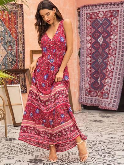 Tribal Print Sleeveless Maxi Dress