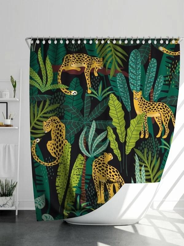 rideau de douche avec motif leopard et plante tropicale 1 piece