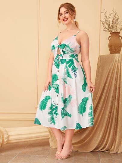 Plus Size Curvy Leaf Print Button Tie Front Cami Dress Tropical Keyhole Women's