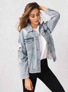 Raw Hem Ripped Detail Denim Jacket