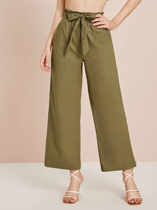 Solid Wide Leg Belted Pants