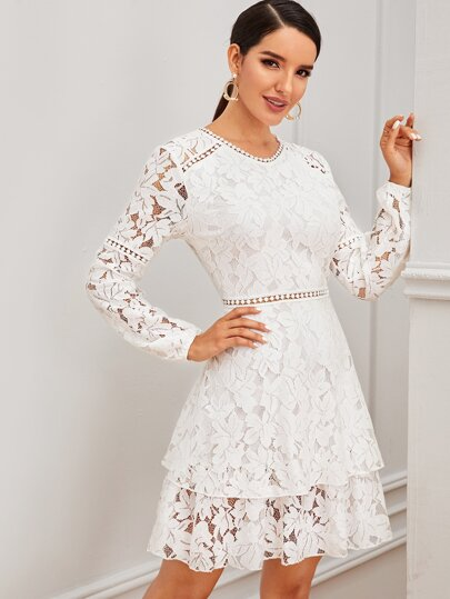lace embroidered long sleeve short white wedding dress