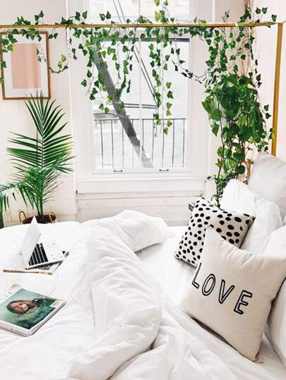 Simple Letter & Dot Print Cushion Cover 1pc Vines on bed, plants, girl's bedroom