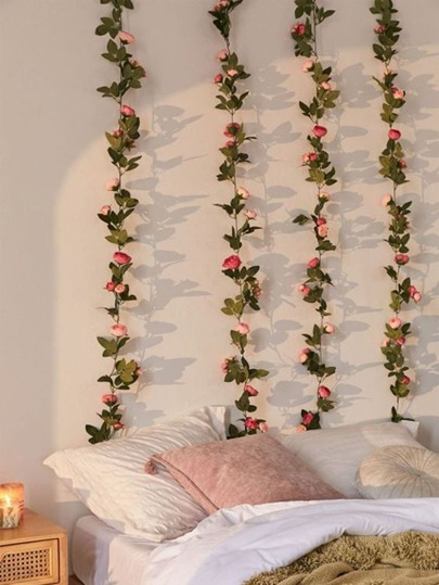 2.4M Artificial Flower & Leaf Decoration climbing vines roses flowers home decor romantic